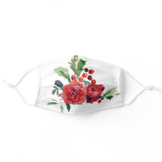 Winter berries floral red Holiday Adult Cloth Face Mask