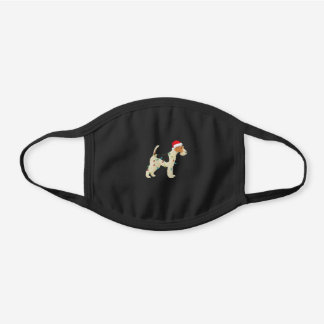 Wire Fox Terrier Christmas Lights Santa Black Cotton Face Mask