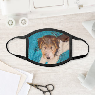 Wire Fox Terrier Puppy Painting - Original Dog Art Face Mask