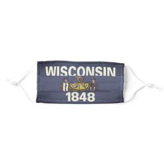 WISCONSIN Flag - Adult Cloth Face Mask