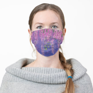 Wisteria tree flowers purple pink cloth face mask