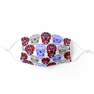 With skull tattoos. Modern red blue pattern Adult Cloth Face Mask