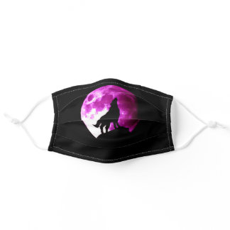 Wolf Howling at Moon Adult Cloth Face Mask
