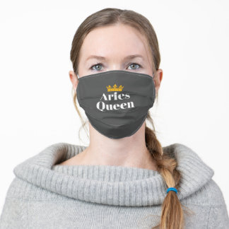 Womens Born March April Aries Queen Zodiac Aries Adult Cloth Face Mask