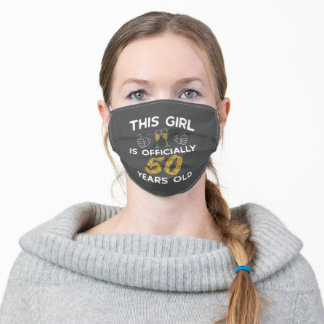Womens This Girl Officially 50 Years 50th Birthday Adult Cloth Face Mask