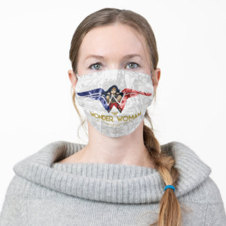 Wonder Woman Crossed Arms in Logo Collage Adult Cloth Face Mask