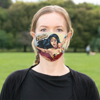 Wonder Woman Wearing Cape Adult Cloth Face Mask