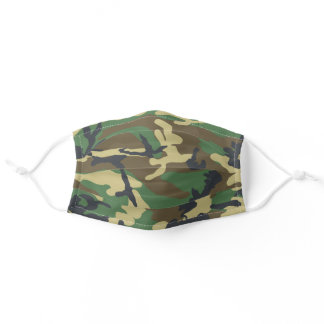 Woodland Camo Pattern Adult Cloth Face Mask