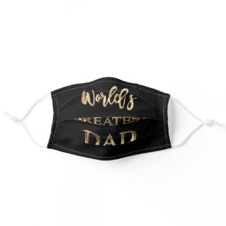 World's Greatest Dad Elegant Black and Gold Text Adult Cloth Face Mask