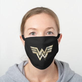 WW84 | Golden Wonder Woman Logo Black Cotton Face Mask