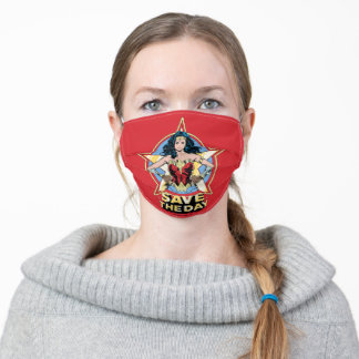 WW84 | Save The Day Wonder Woman Retro Comic Art Adult Cloth Face Mask