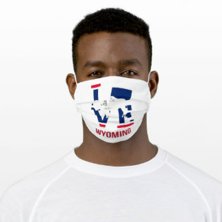 Wyoming state flag love adult cloth face mask