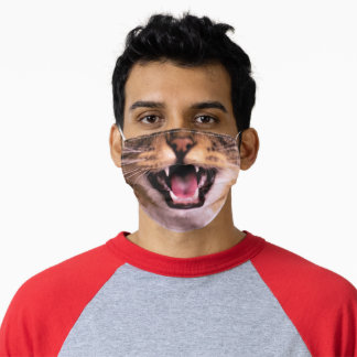 Yelling Tabby Cat Adult Cloth Face Mask