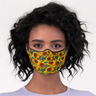 Yellow and Bronze Rudbeckias Floral Pattern Premium Face Mask