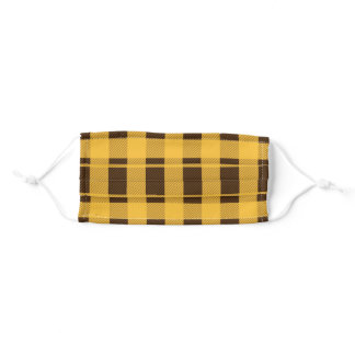 Yellow and Brown Plaid pattern Adult Cloth Face Mask