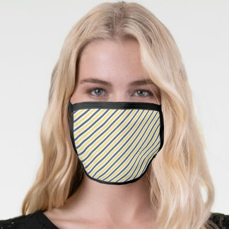 Yellow and Charcoal Grey Stripes Face Mask