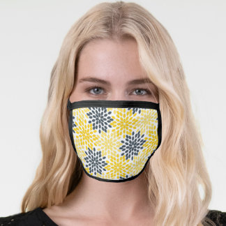 Yellow and Gray Charcoal Modern Floral Face Mask