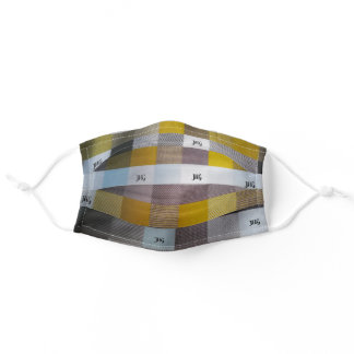 Yellow and Gray Checked personalized Adult Cloth Face Mask