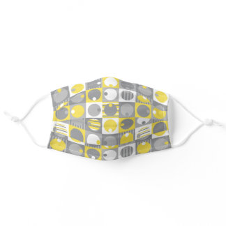 Yellow and grey geometric shapes adult cloth face mask