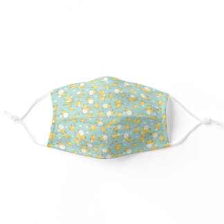 Yellow and Mint Dainty Floral Pattern Adult Cloth Face Mask
