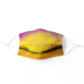 Yellow and Purple Santa Monica Pier Adult Cloth Face Mask