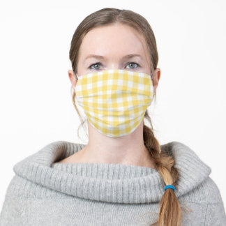 Yellow and White Gingham Plaid Simple Pattern Adult Cloth Face Mask