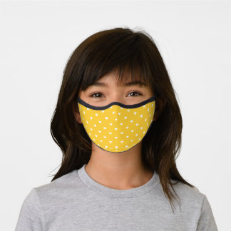 Yellow and White Heart Pattern Premium Face Mask
