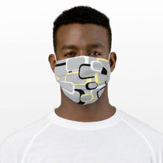 Yellow Black White Gray Retro Squares Pattern Adult Cloth Face Mask