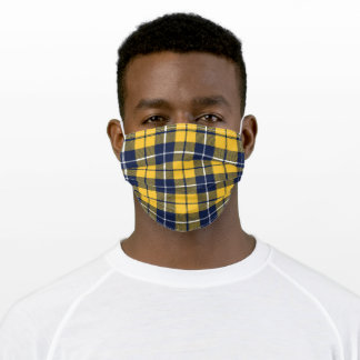 Yellow & Blue Plaid Pattern Mask, Tartan, Scottish Adult Cloth Face Mask