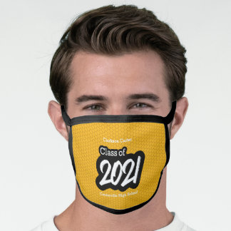 Yellow Bold Brush Class of 2021 Face Mask