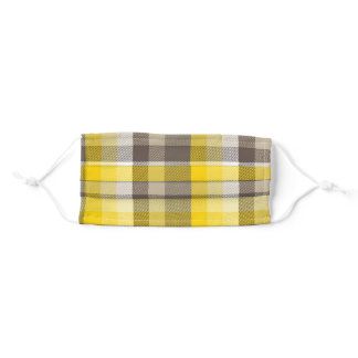 Yellow Brown Square Plaid Pattern Adult Cloth Face Mask
