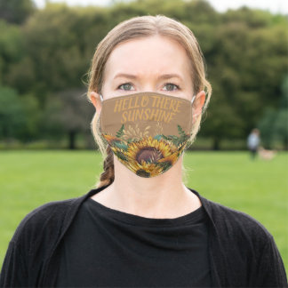 Yellow Brown Sunflowers Hello There Sunshine Adult Cloth Face Mask