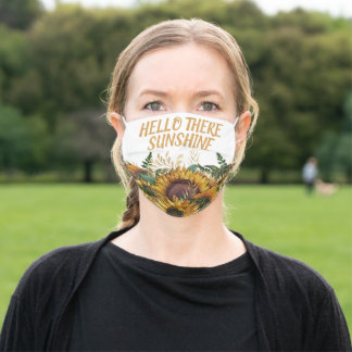 Yellow Brown White Sunflowers Hello There Sunshine Adult Cloth Face Mask