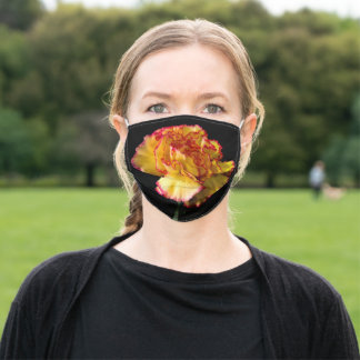 Yellow Carnation with a Pink Edge Adult Cloth Face Mask