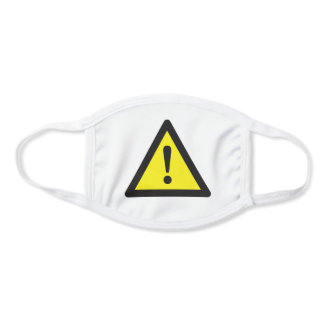 Yellow caution sign face mask