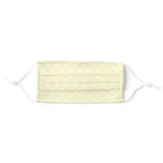 Yellow Checkered Gingham Plaid Adult Cloth Face Mask