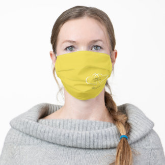 Yellow Chic Wedding Hearts Modern Adult Face Mask