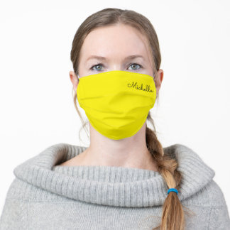 Yellow Custom Name Adult Cloth Face Mask
