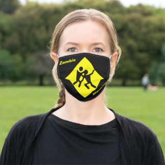 Yellow Fighting Zombie Warning Caution Sign, ZFJ Adult Cloth Face Mask