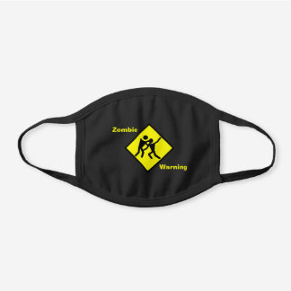 Yellow Fighting Zombie Warning Caution Sign, ZFJ Black Cotton Face Mask