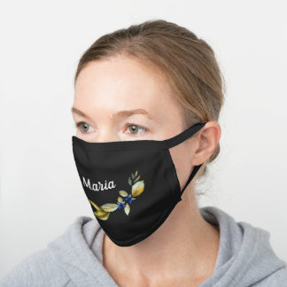 Yellow Floral Personalized Name Black Cotton Face Mask