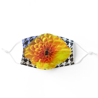Yellow flower on houndstooth adult cloth face mask