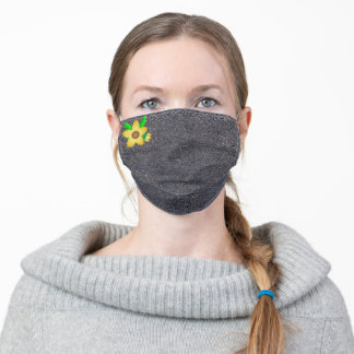 Yellow Flower on Solid Blue Denim Adult Cloth Face Mask