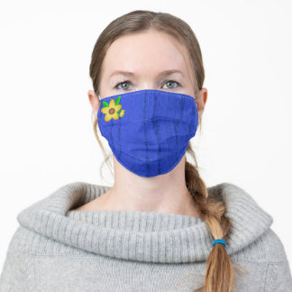 Yellow Flower on Solid Blue Woodgrain, Adult Cloth Face Mask
