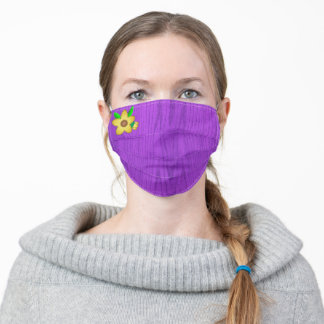 Yellow Flower on Solid Purple Woodgrain, Adult Cloth Face Mask