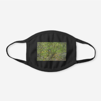 Yellow Flowers Black Cotton Face Mask