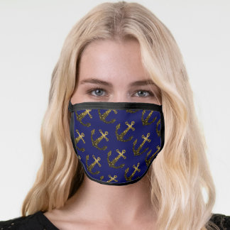 Yellow Gold sparkles Anchor navy blue pattern Face Mask