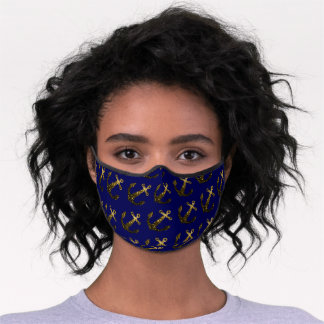 Yellow Gold sparkles Anchor navy blue pattern Premium Face Mask