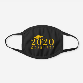 Yellow Graduation Cap Class of 2020 Graduate Black Cotton Face Mask