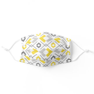 Yellow gray and white geometric pattern adult cloth face mask